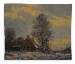 Dutch Snow Landscape Fleece Blanket