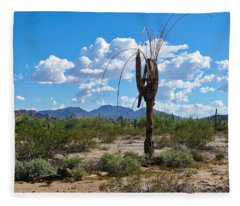 Dying Saguaro In The Desert Fleece Blanket