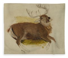 Dying Stag Fleece Blanket