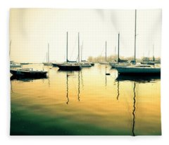 Early Mornings At The Harbour Fleece Blanket