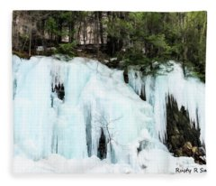 Early Spring Cliff Ice Flow Southern Vermont. Fleece Blanket
