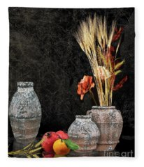 Earthen Jugs And Wheat Fleece Blanket
