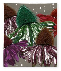 Echinacea Flowers Dance Fleece Blanket