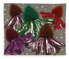 Echinacea Flowers Dance Fleece Blanket