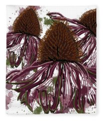 Echinacea Flowers Line Fleece Blanket