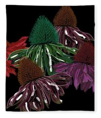 Echinacea Flowers With Black Fleece Blanket