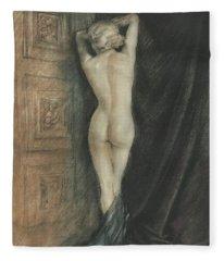 Fleece Blanket featuring the photograph Edouard Chimot Nude In Boudoir  by Andrea Kollo