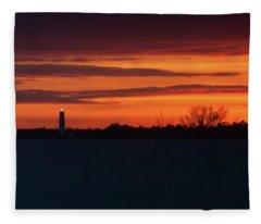Egmont Key Lighthouse Sunset Fleece Blanket