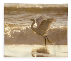 Egret At The Beach On A Sunny Morning Fleece Blanket