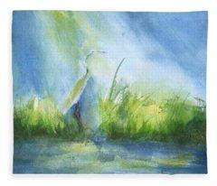 Egret In Sunlight Fleece Blanket