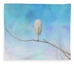 Egret On A Branch Fleece Blanket