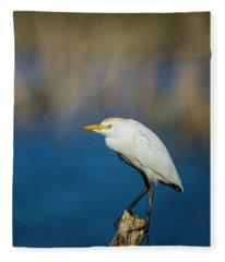 Egret On A Stick Fleece Blanket