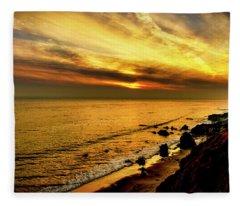 El Matador Beach Sunset Fleece Blanket