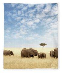 Elephant Group In The Grassland Of The Masai Mara Fleece Blanket