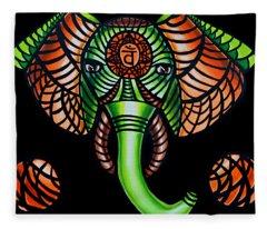 Zentangle Elephant Head Art Painting, Sacral Chakra Art, African Animal Tribal Artwork Fleece Blanket