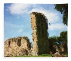 Elgin Cathedral Ruins Painting Fleece Blanket