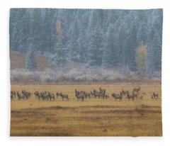 Elk On A Snowy Autumn Day Fleece Blanket