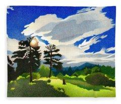 Fleece Blanket featuring the drawing Elk Ridge Twilight by Dan Miller