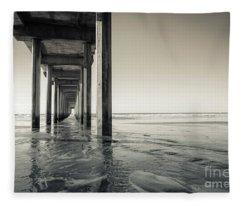 Ellen Browning Scripps Memorial Pier Black And White Fleece Blanket
