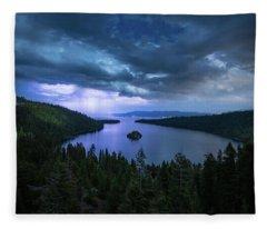 Emerald Bay Electric Skies By Brad Scott Fleece Blanket