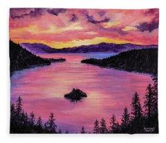 Emerald Bay Sunset Fleece Blanket