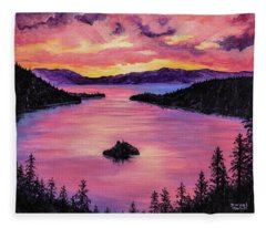 Fleece Blanket featuring the painting Emerald Bay Sunset by Darice Machel McGuire
