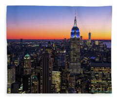 Empire State Building And Lower Manhattan At Sunset Fleece Blanket