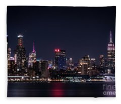 Empire State Building - New York Skyline At Night Fleece Blanket