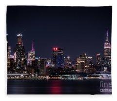 Empire State Building - New York Skyline At Night Fleece Blanket