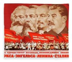 Marx, Engels, Lenin And Stalin, 1953 Propaganda Poster Fleece Blanket