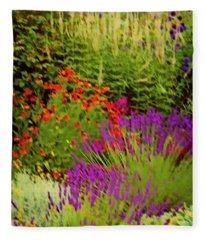 English Flower Border Art Fleece Blanket