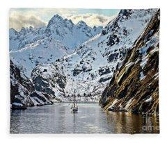 Entering The Trollfjord, Norway Fleece Blanket