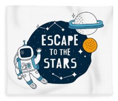 Escape To The Stars - Baby Room Nursery Art Poster Print Fleece Blanket