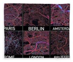 European Capital Cities Maps Fleece Blanket