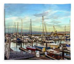 Evening At Pier 39 Marina Panorama Fleece Blanket