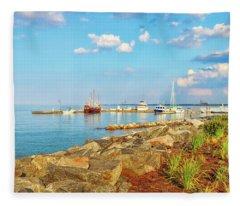 Evening At Riverwalk Landing In Yorktown Virginia Fleece Blanket