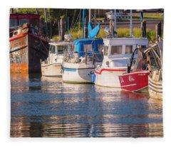Evening At The Harbor Fleece Blanket