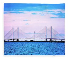 Evening At The Indian River Inlet Bridge Fleece Blanket