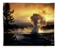 Evening Magic - Yellowstone National Park Fleece Blanket