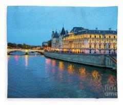 Evening On The Seine River Paris France Fleece Blanket