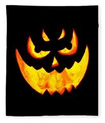 Evil Glowing Pumpkin Fleece Blanket