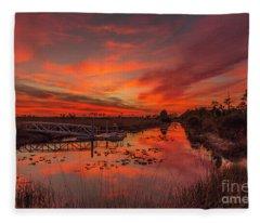 Explosive Sunset At Pine Glades Fleece Blanket