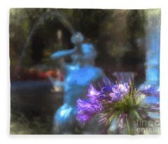 Expressive Flower And Fountain At Forsyth Park Fleece Blanket