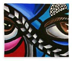 Eye Art Painting Abstract Chromatic Painting Electric Energy Artwork Fleece Blanket