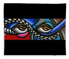 Eye Art Painting Abstract Chromatic Painting Electric Energy Artwork Fleece Blanket
