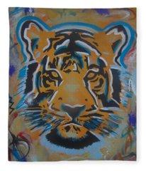 Eye Of The Big Tiger Fleece Blanket