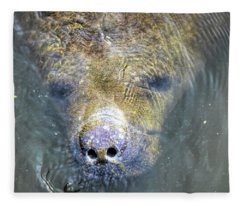 Face Of The Manatee Fleece Blanket