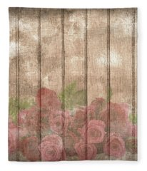 Faded Red Country Roses On Wood Fleece Blanket