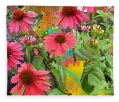 Fairy Among The Flowers Fleece Blanket