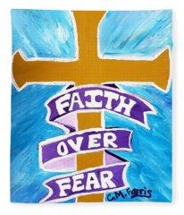 Faith Over Fear Cross  Fleece Blanket